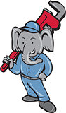 Elephant Plumber Monkey Wrench Cartoon