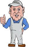 Oven Cleaner Technician Thumbs Up Cartoon