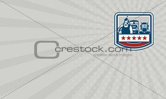 Business card Power Washer Worker Truck Train Crest Retro
