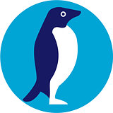 Adelie Penguin Circle Retro
