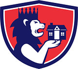 King Lion Holding House Crest Retro