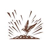 Plover Landing Island Woodcut