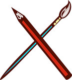 Crossed Pencil Artist Brush Retro