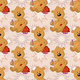 Seamless pattern, teddy bear with Christmas bag