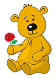 Teddy-bear with a rose flower