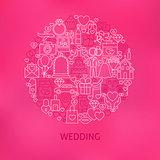 Line Wedding Icons Circle Concept