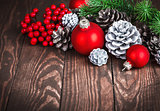 Christmas decoration with red balls pinecone