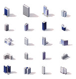 Vector isometric city buildings icon set