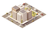 Vector isometric low poly town street with buildings