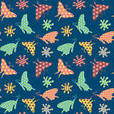 Butterfly vector seamless patterns