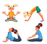 Set with blond and brown haired girls doing yoga