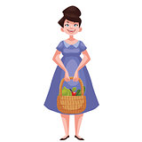 woman holding baskets of fruits and vegetable