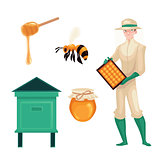 Beekeeper in protective suit, bee, honey jar and dipper