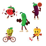 Fruits and vegetables doing sport exercises