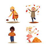 Set of kids enjoying outdoor fall autumn activities