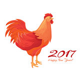 Colorful 2017 New Year greeting card with rooster