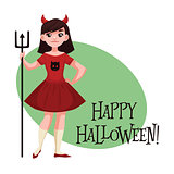 Happy girl dressed as devil for Halloween