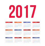 Calendar for 2017 on White Background.