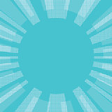 Blue comic retro background sun