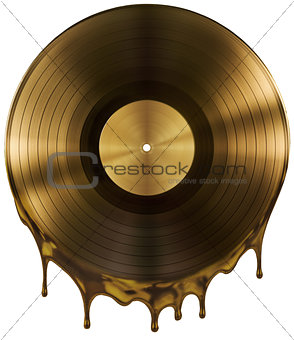 molten or melted record music disc award isolated on black