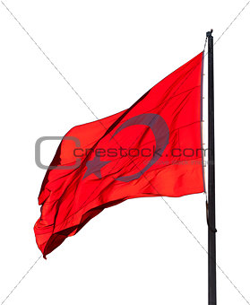 Flag of Turkey waving in wind evening