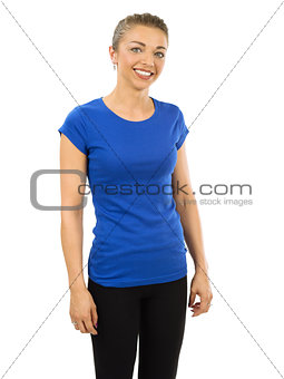 Slim woman wearing blank blue shirt