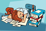 Young woman sleeping at work or school