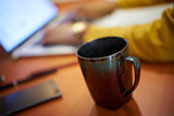Coffee Cup On Desk College Student Studying At Night