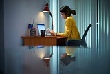 College Girl Female Student Studying At Night
