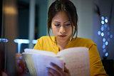 College Girl Student Preparing Exam At Night