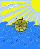 marine waves with steering-wheel mews and sun beams