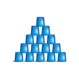 Pyramid of cups in blue design