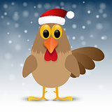Christmas background with rooster. Vector illustration.