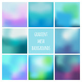 Set of eight colorful gradient mesh backgrounds