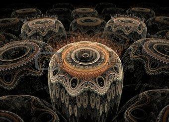 Fractal pattern barrels on a black background