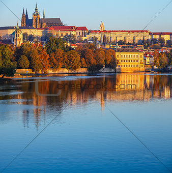 Prague city Morning view to Saint Vitus Cathedral