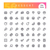 Dessert and Sweet Pastry Line Icons Set