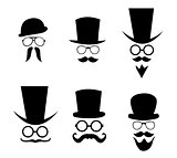Hat, glasses and mustache. Vector illustration