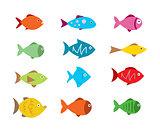 Fish Icons set vector illustration