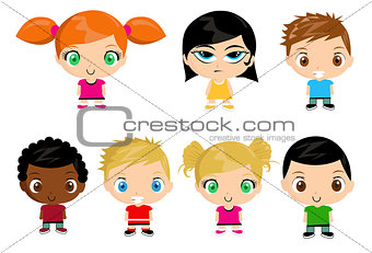 Group of kids vector illustration
