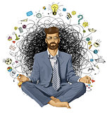 Businessman Hipster in Lotus Pose Meditating ORIGINAL-
