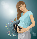 Vector Pregnant Woman With Headphones