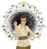 Vector Hipster Business Woman Writing Something