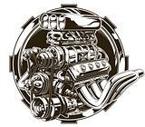 Cool detailed hot road engine with skull tattoo