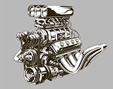 Detailed hot road engine with skull tattoo