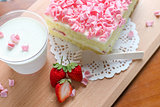Pink Strawberry Cake with Milk and fresh StrawberryPink Strawberry Cake with Milk and fresh Strawberry