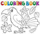 Coloring book with crow and leaves