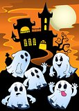 Ghosts near haunted house theme 1