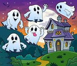 Ghosts near haunted house theme 2