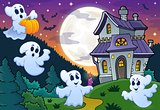 Ghosts near haunted house theme 3